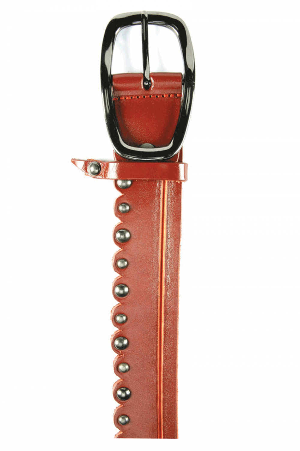 Women Red leather belt with caps and elliptical buckle - 515642